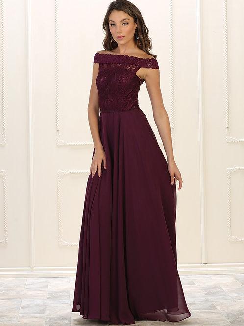 Burgundy Lace Off Shoulder Dress Size 8