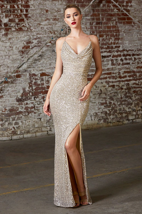 Champagne Sequin Long Dress Size S