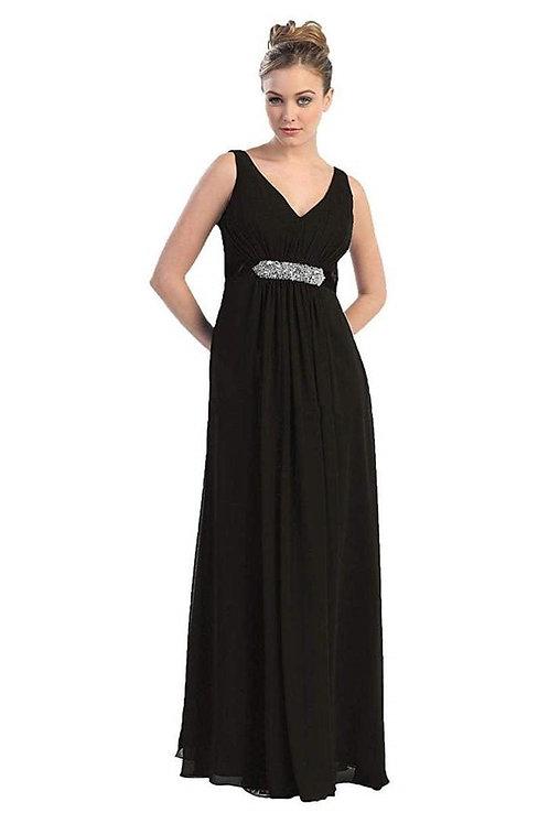 Black Belted Long Dress Size 24