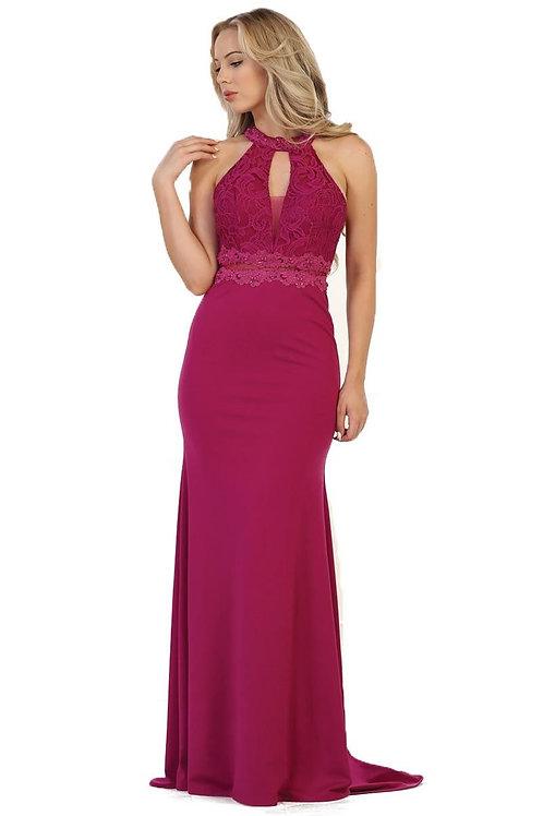 Magenta Lace Top Long Dress Size 10