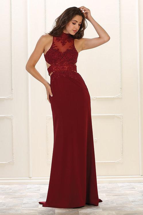 Burgundy Lace Long Dress Size 2