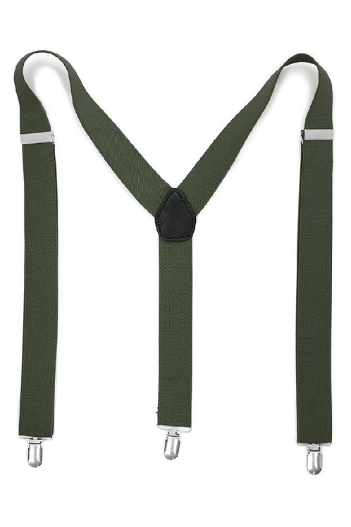 Hunter Green Clip On Suspenders