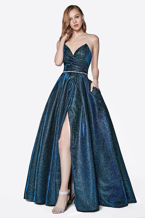 Dark Royal Metallic Strapless Dress Size 6