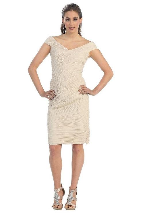 Beige Pleated Shot Dress Size 6