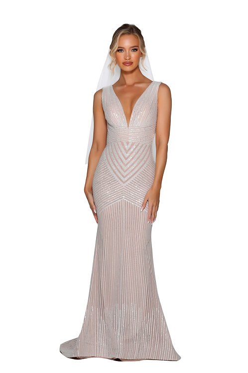 Ivory/Nude Sparkle Fit & Flare Gown Size 4