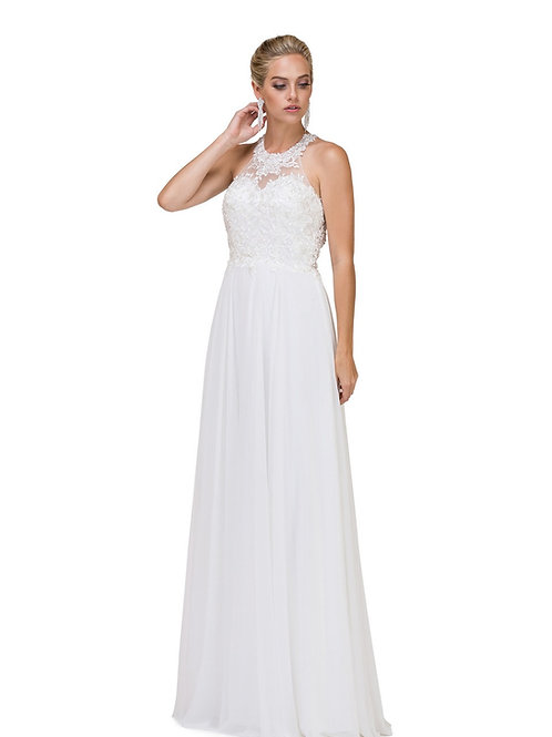 Off White Halter Neck Bridal Gown Size XL
