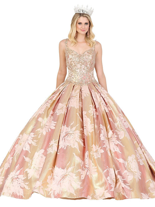 Rose Gold Floral Print Ball Gown Size XL