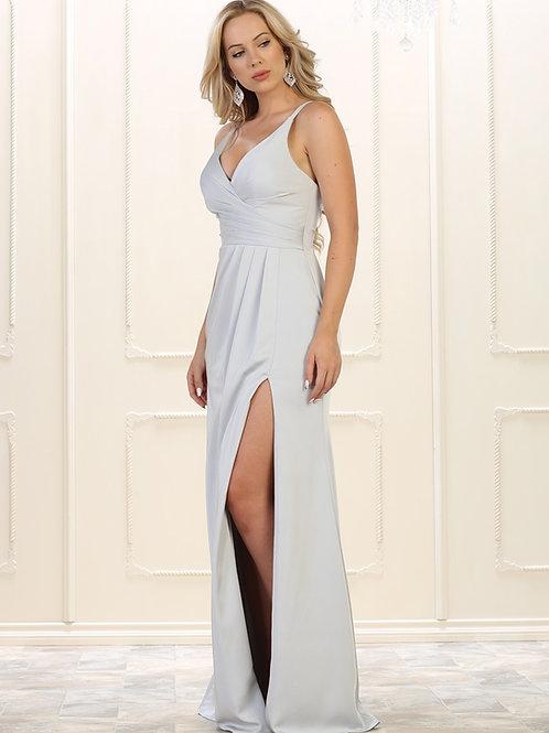 Silver Draped Long Dress Size 8