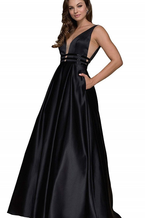 Black Satin A-Line Bridal Gown