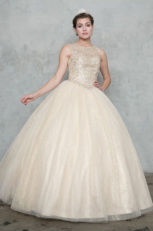 Champagne Sparkle Ball Gown Size 12