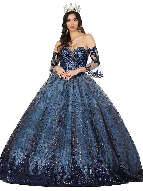 Navy Glitter Ball Gown Size XL