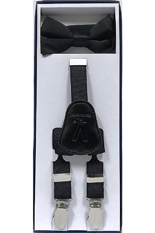 Children's Black Suspender & Tie Set
