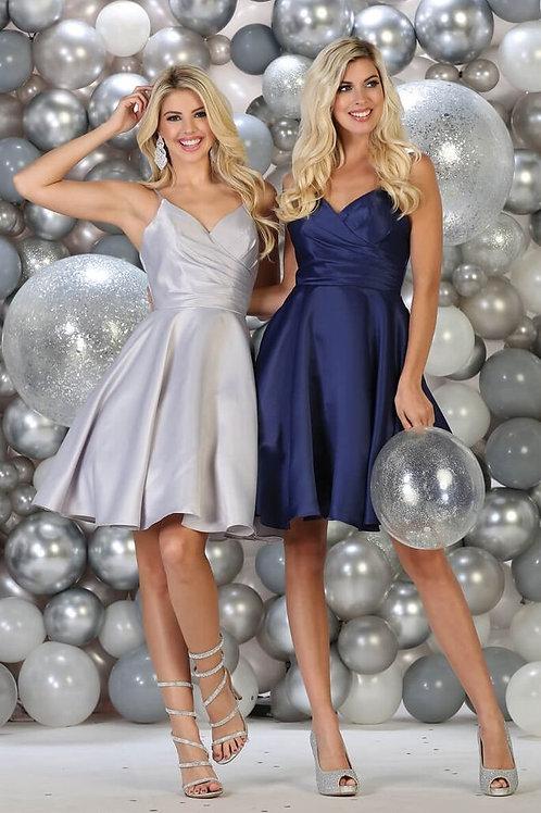 Silver Satin Short Dress Size 4