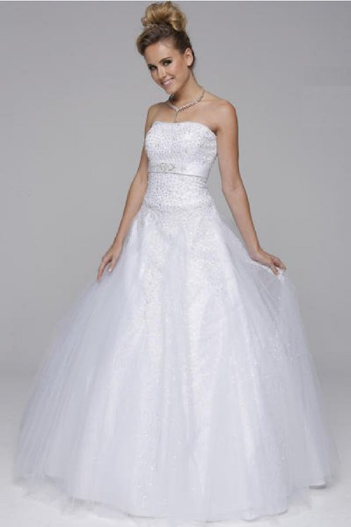 Ivory Strapless Jeweled Bridal Gown Size XS