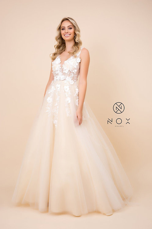 Champagne Floral Embroidered Bridal Gown Size 12