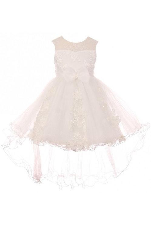 Girls White 3D Applique High Low Dress Size 6