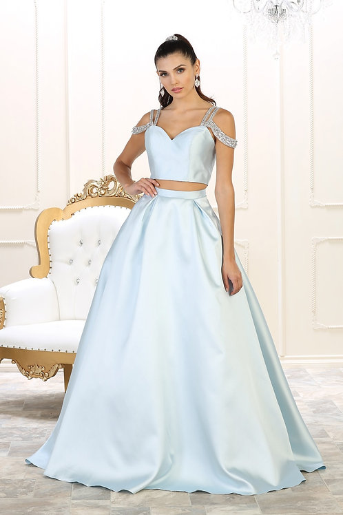 Baby Blue Two Piece Long Dress Size 4