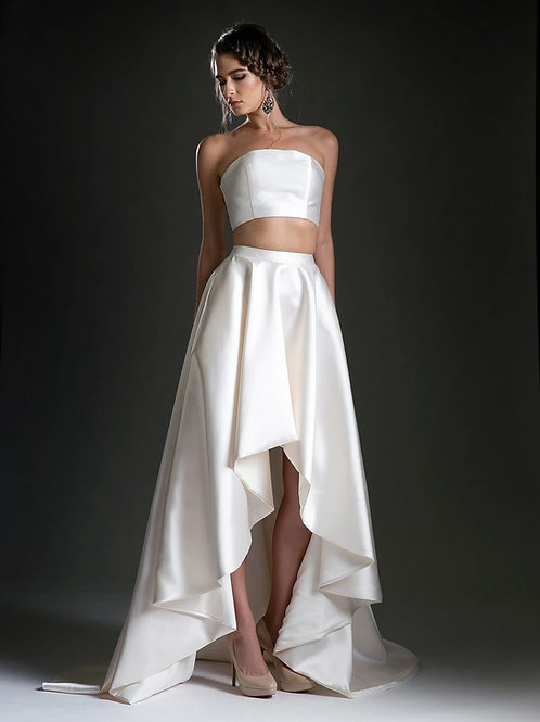 Cream Two Piece Bridal Gown Size 2