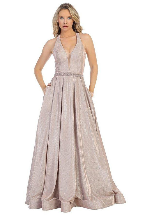 Mauve Metallic Belted Long Dress Size M