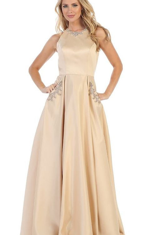 Champagne Jeweled A-Line Bridal Gown Size L
