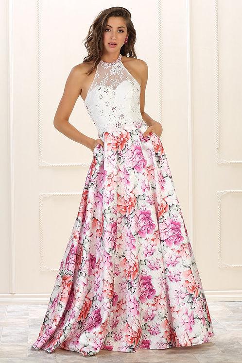 White Floral Print Long Dress Size 6, 8