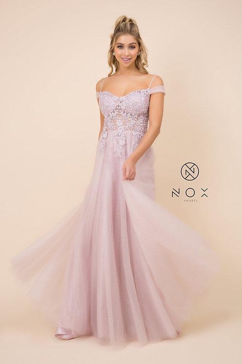 Light Mauve Off Shoulder Floral Formal Dress Size XS