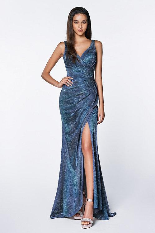 Blue Metallic Long Dress Size XL
