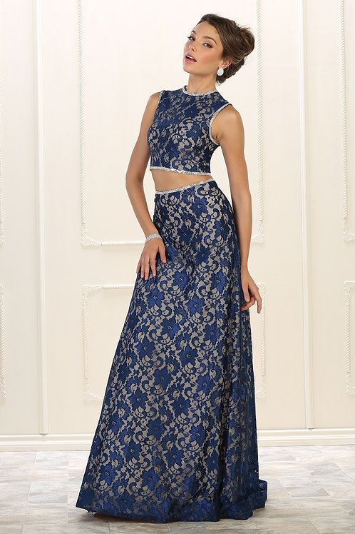 Navy Two Piece Long Dress Size 6
