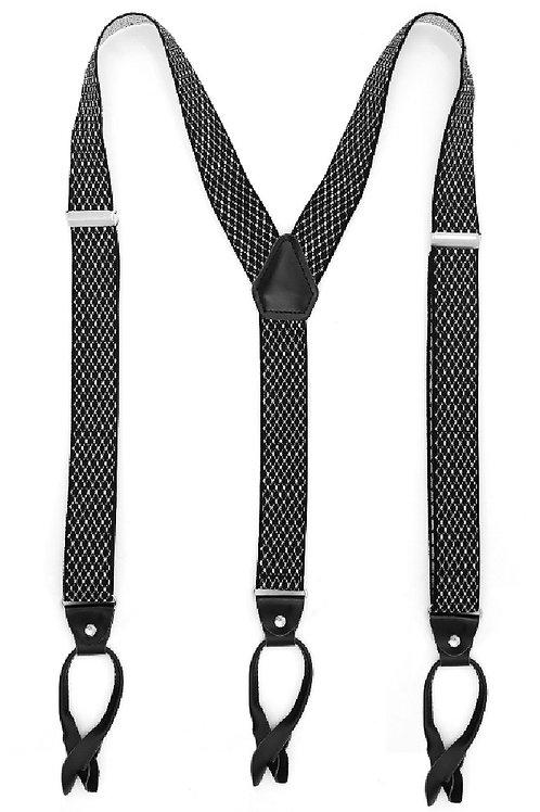 Black & White Button End Suspenders
