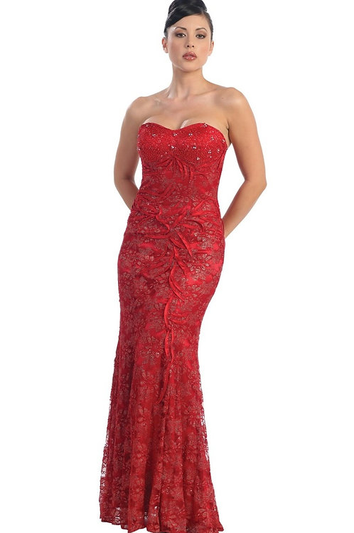 Red Strapless Long Dress Size 6