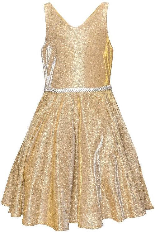Girls Gold Metallic Short Dress Size 10