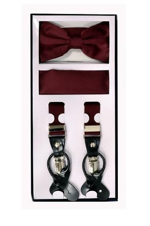 Burgundy Suspender Set