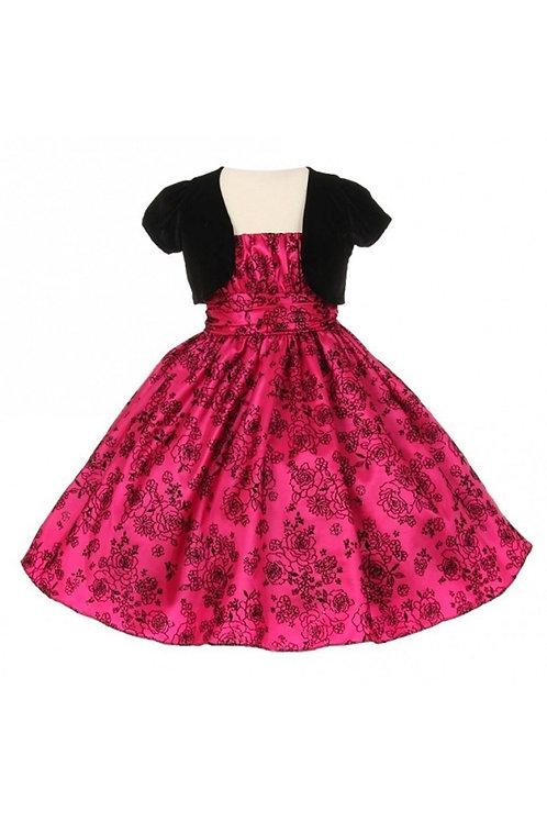 Girls Fuchsia & Black Velvet Short Dress With Velvet Jacket Size 10