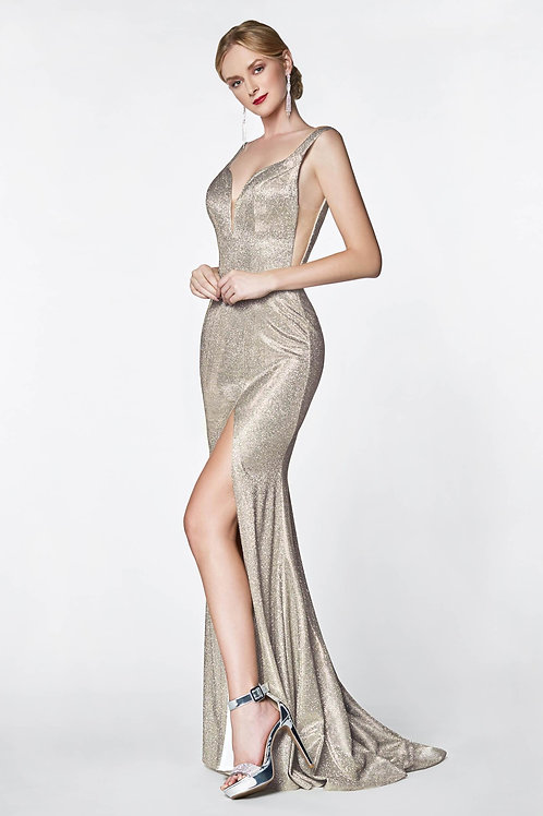 Gold Shimmer Long Dress Size 4, 6