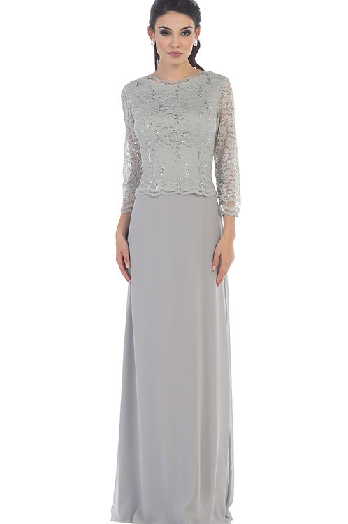 Silver Lace Top Long Dress Size 2XL