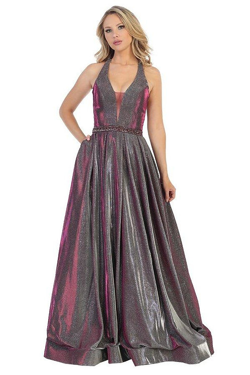 Wine Metallic Belted Long Dress Size XS, 3XL