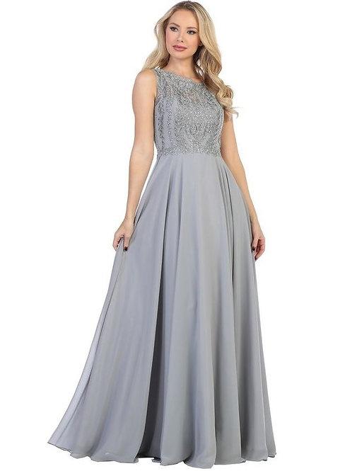 Silver Jeweled Long Dress Size S