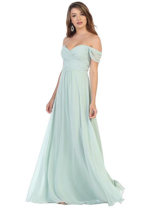 Sage Off Shoulder Long Dress Size 12