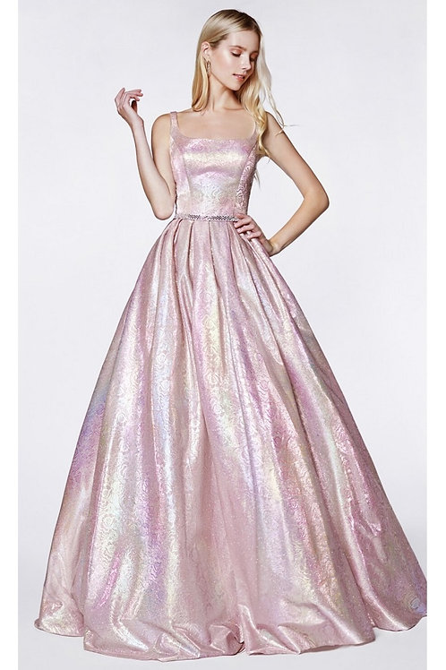 Metallic Blush Floral Long Dress Size 4