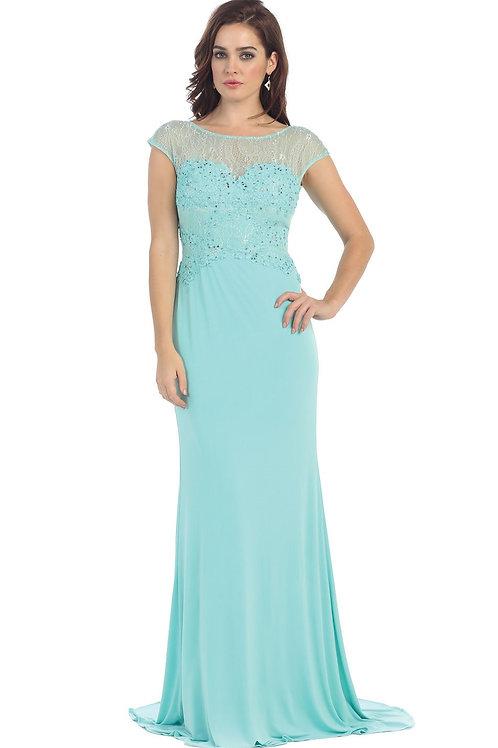 Aqua Lace Long Dress Size 6