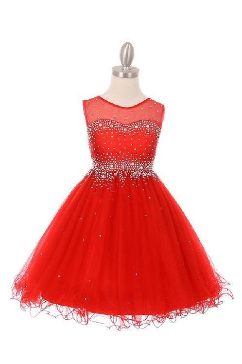 Girls Red Jeweled Short Dress Size 16