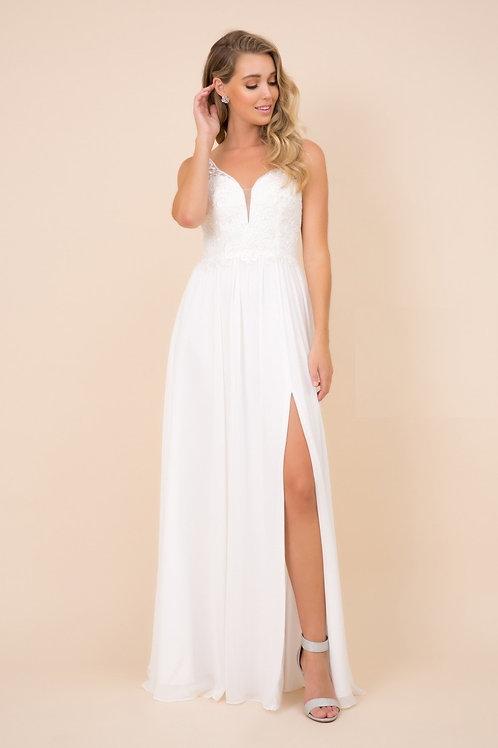 White A-Line Semi Formal Wedding Dress Size M