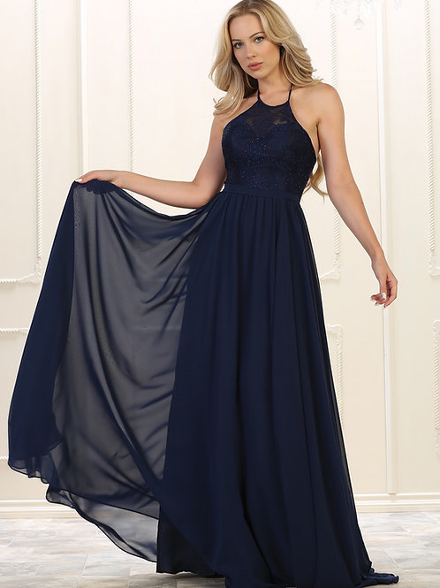 Navy Halter Top Long Dress Size 20