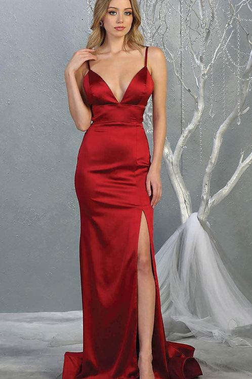 Burgundy Satin Long Dress Size 6