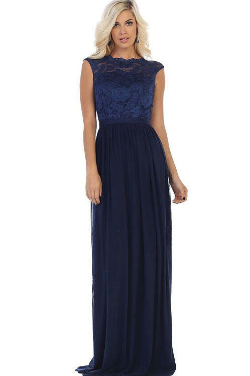 Navy Lace Top Long Dress Size 14