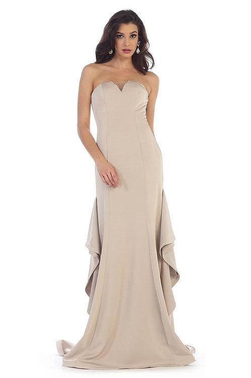 Champagne Strapless Long Dress Size 4, 6, 8, 10