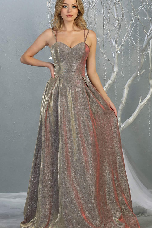 Rose Gold Metallic A-Line Long Dress Size 10