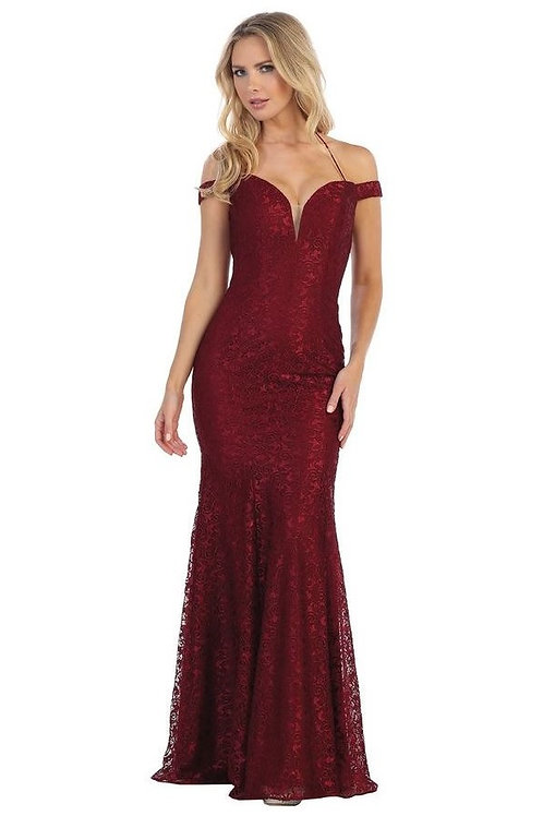 Burgundy Lace Off Shoulder Long Dress Size S