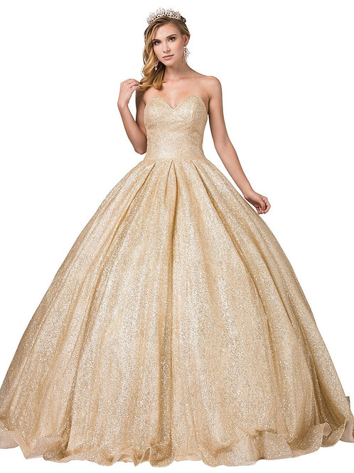 Gold Glitter Strapless Ball Gown Size XS