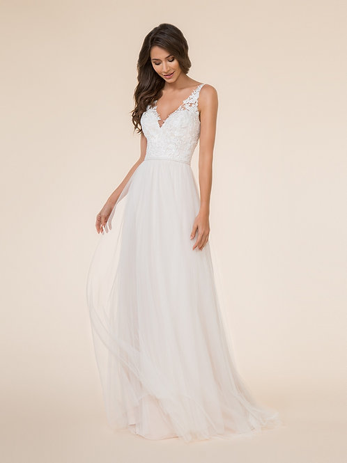 White V-Neck A-Line w/Beaded Waist Size 10